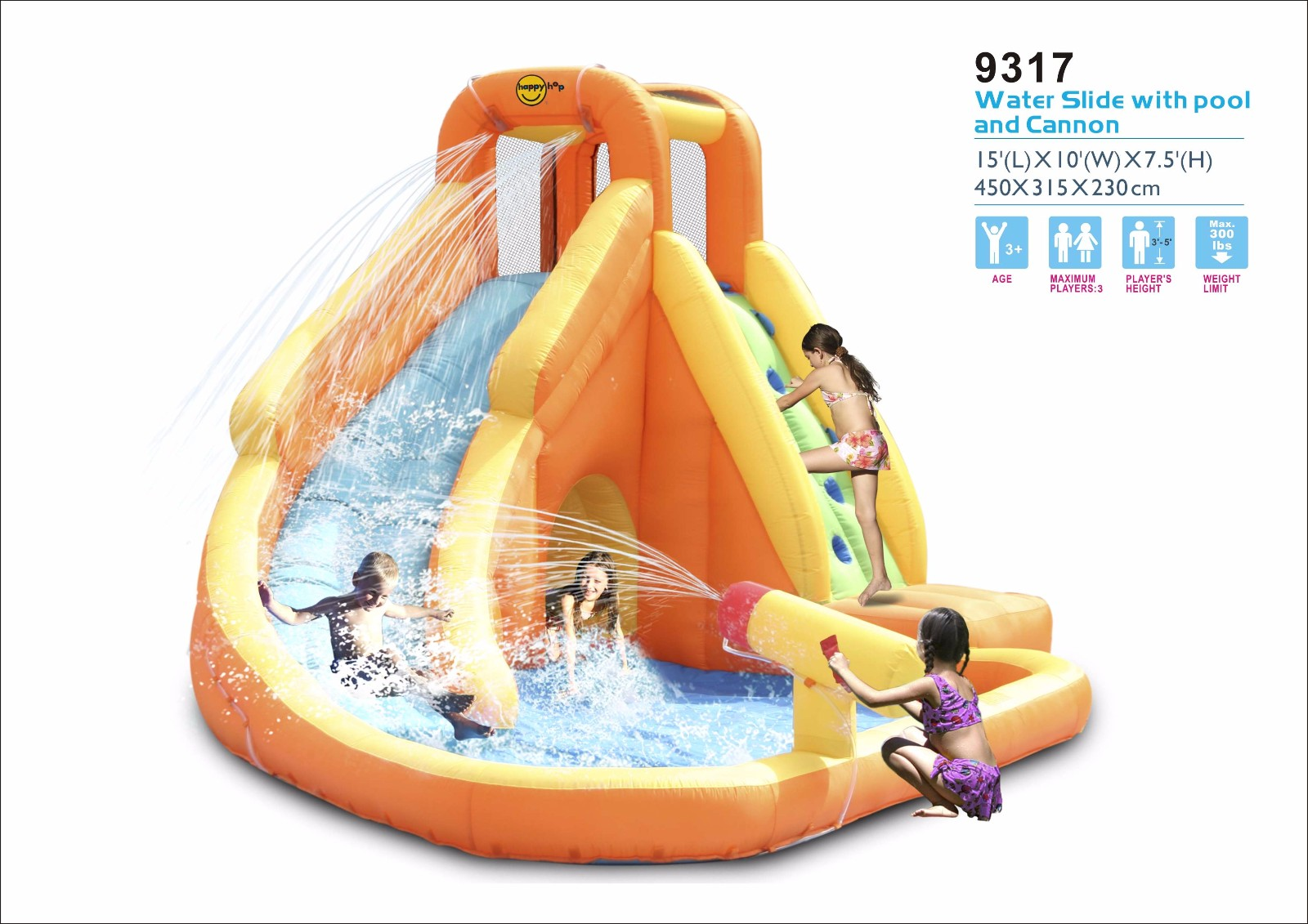 Inflatable Pool-9317 Water Slide with Pool and Cannon
